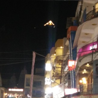 A view of the Mansa Devi Temple from the ghats below