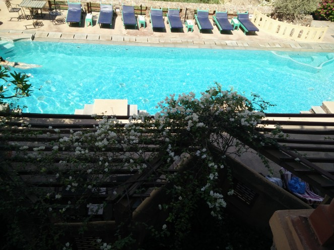View of the pool from restaurant